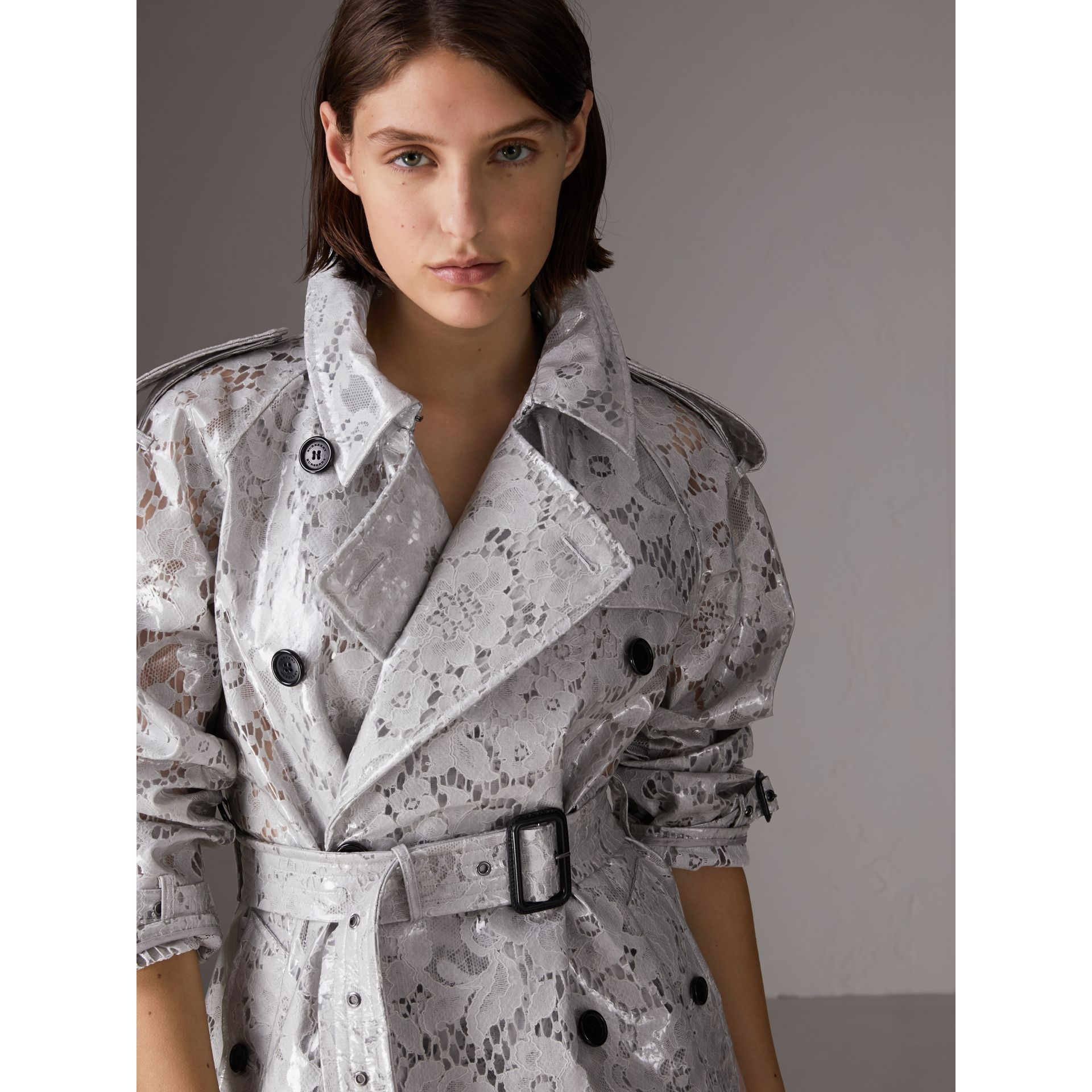 Laminated Lace Trench Coat in Pale Grey - Women | Burberry - gallery image 1