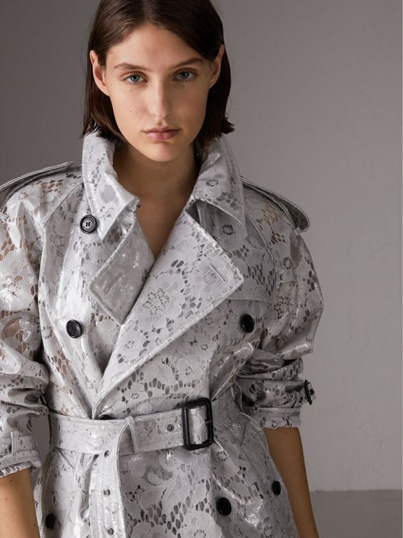 Laminated Lace Trench Coat in Pale Grey - Women | Burberry United Kingdom - cell image 1