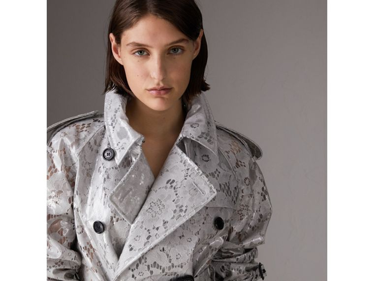 Laminated Lace Trench Coat in Pale Grey - Women | Burberry - cell image 1