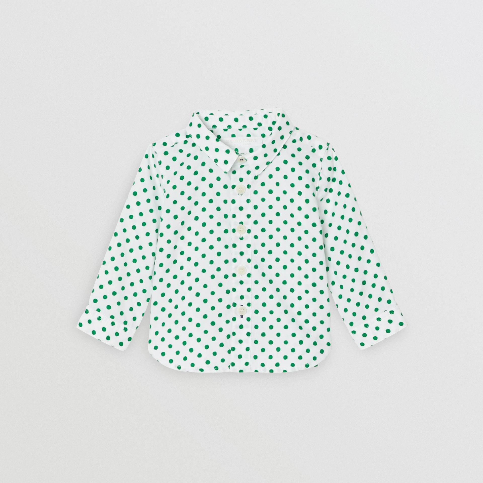 Polka Dot Cotton Oxford Shirt in Emerald Green - Children | Burberry United States - gallery image 0