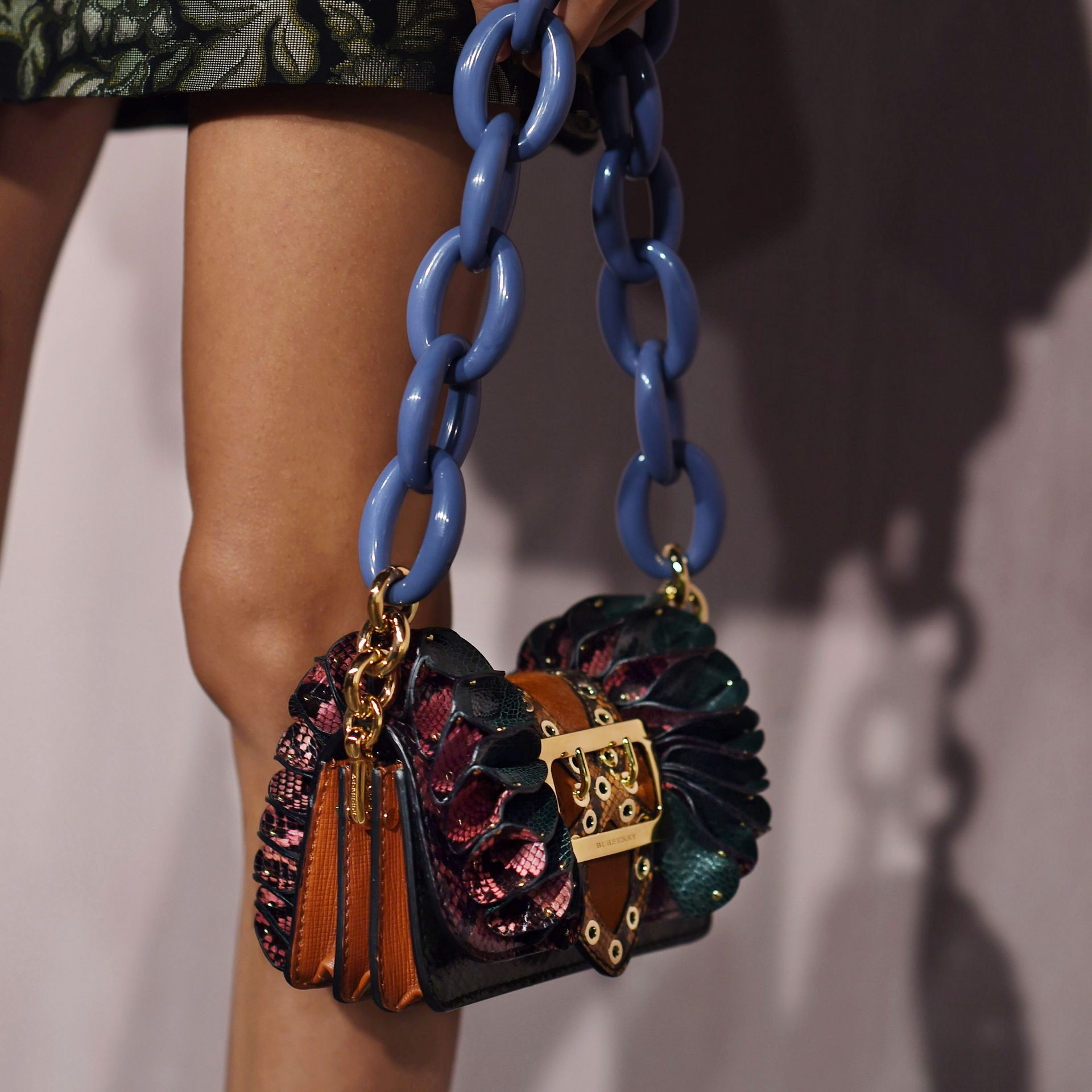 The Ruffle Buckle Bag in Snakeskin, Ostrich and Calfskin - gallery image 8
