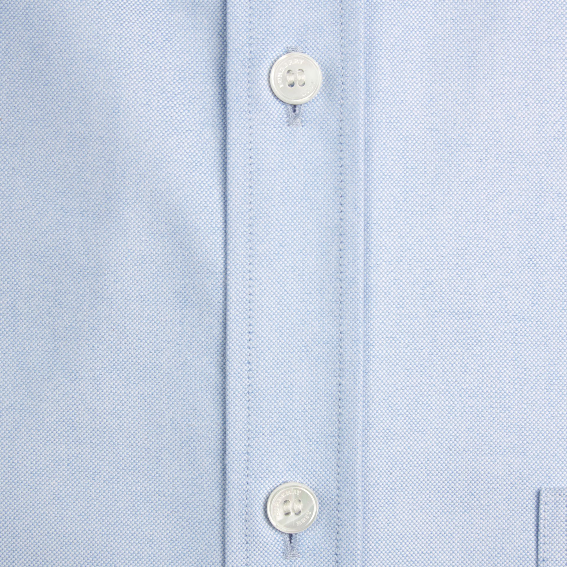 Check Detail Cotton Oxford Shirt in Cornflower Blue - Men | Burberry Singapore - gallery image 2
