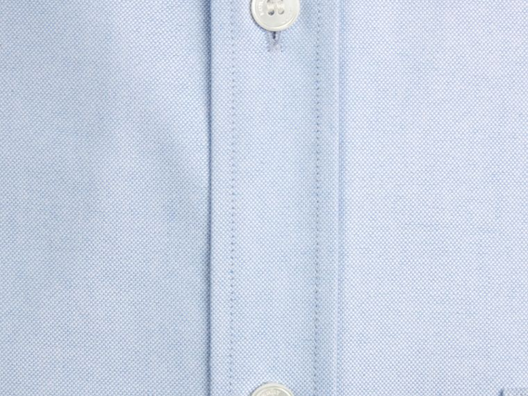 Check Detail Cotton Oxford Shirt in Cornflower Blue - Men | Burberry Singapore - cell image 1