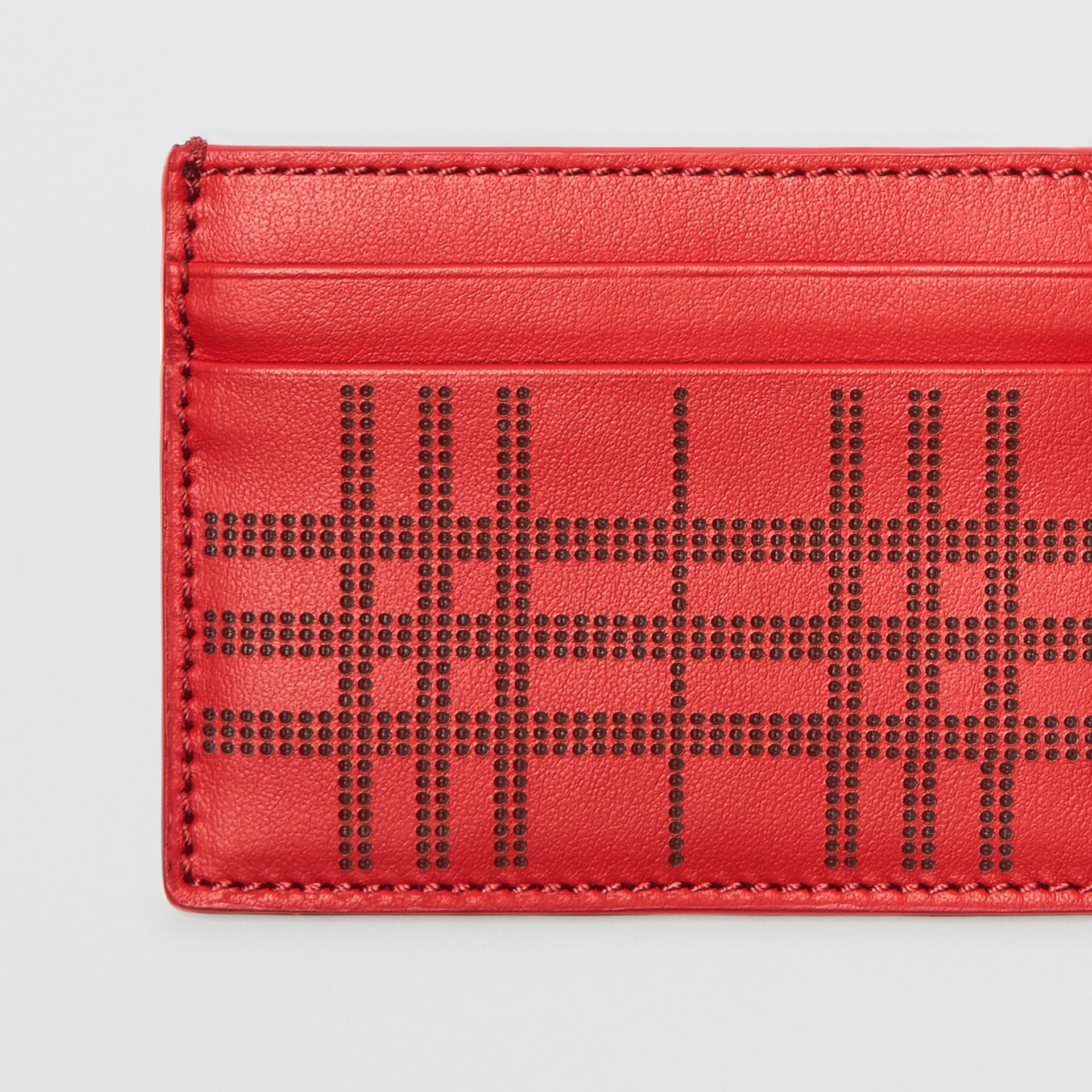 Perforated Check Leather Card Case in Rust Red | Burberry - gallery image 1