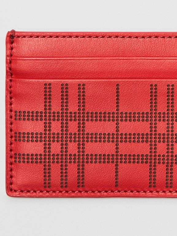 Perforated Check Leather Card Case in Rust Red - Men | Burberry - cell image 1