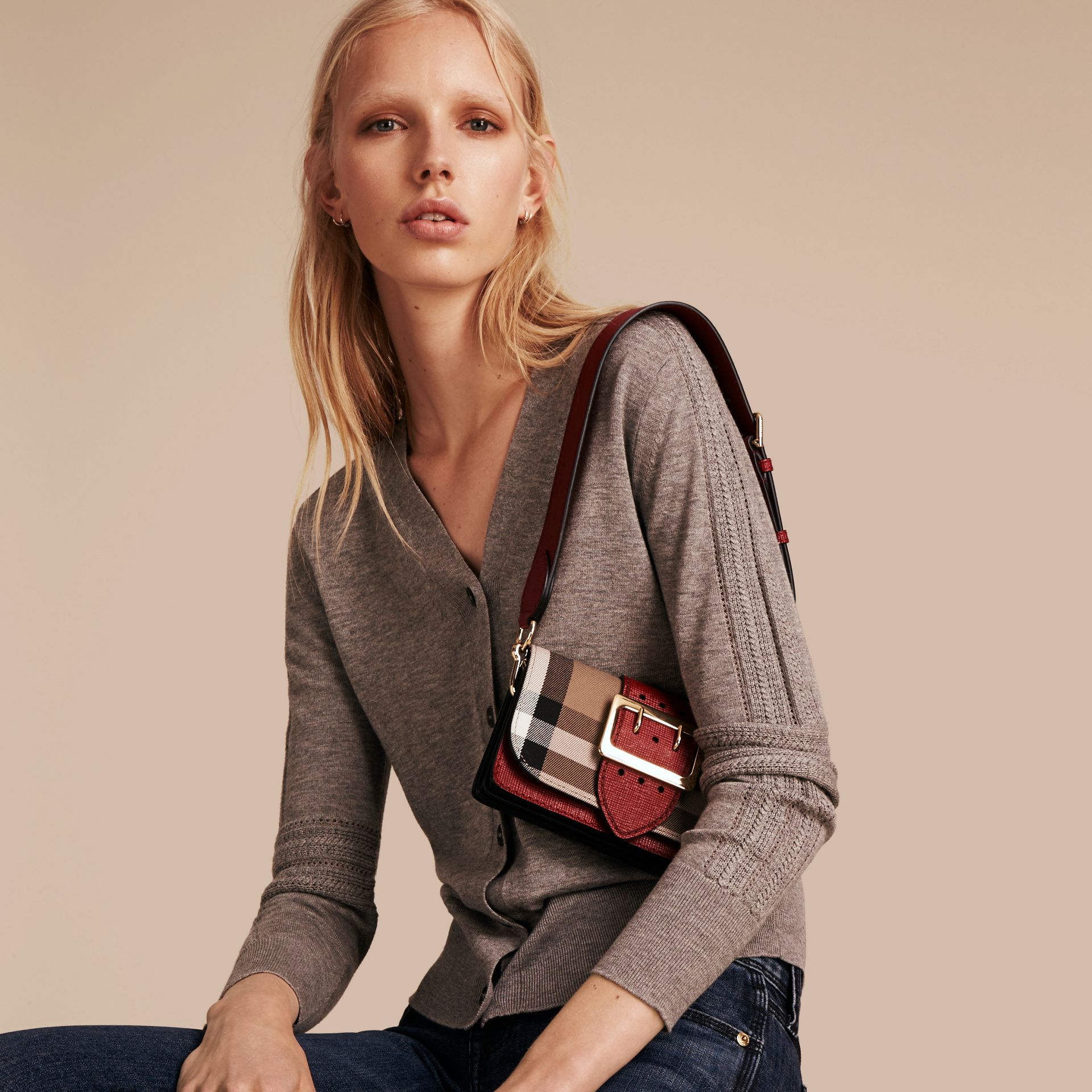 The Small Buckle Bag in House Check and Leather in Military Red/military Red - Women | Burberry United States - gallery image 2