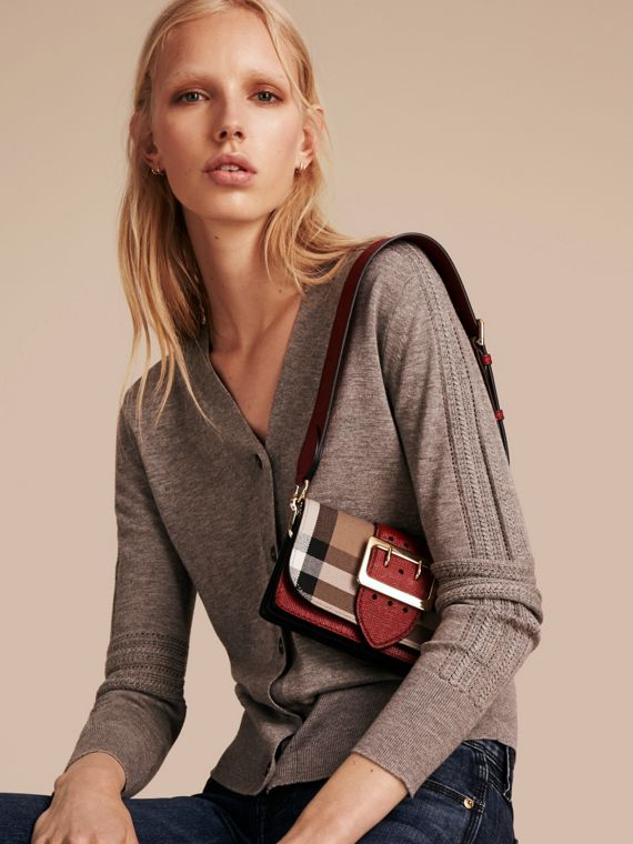 The Small Buckle Bag in House Check and Leather in Military Red/military Red - Women | Burberry United States - cell image 2