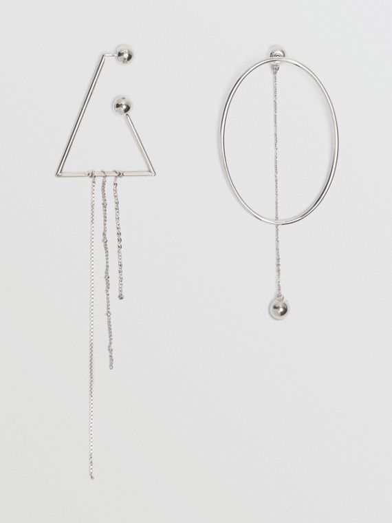 Triangle and Oval Palladium-plated Drop Earrings in Palladio