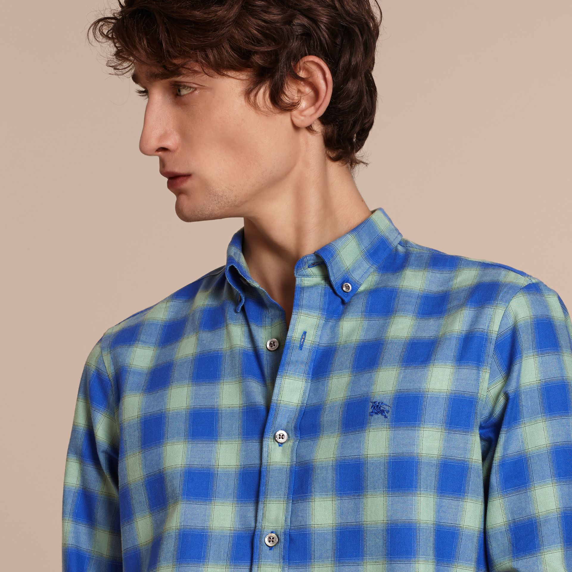 Eucalyptus green Gingham Check Cotton Shirt Eucalyptus Green - gallery image 5