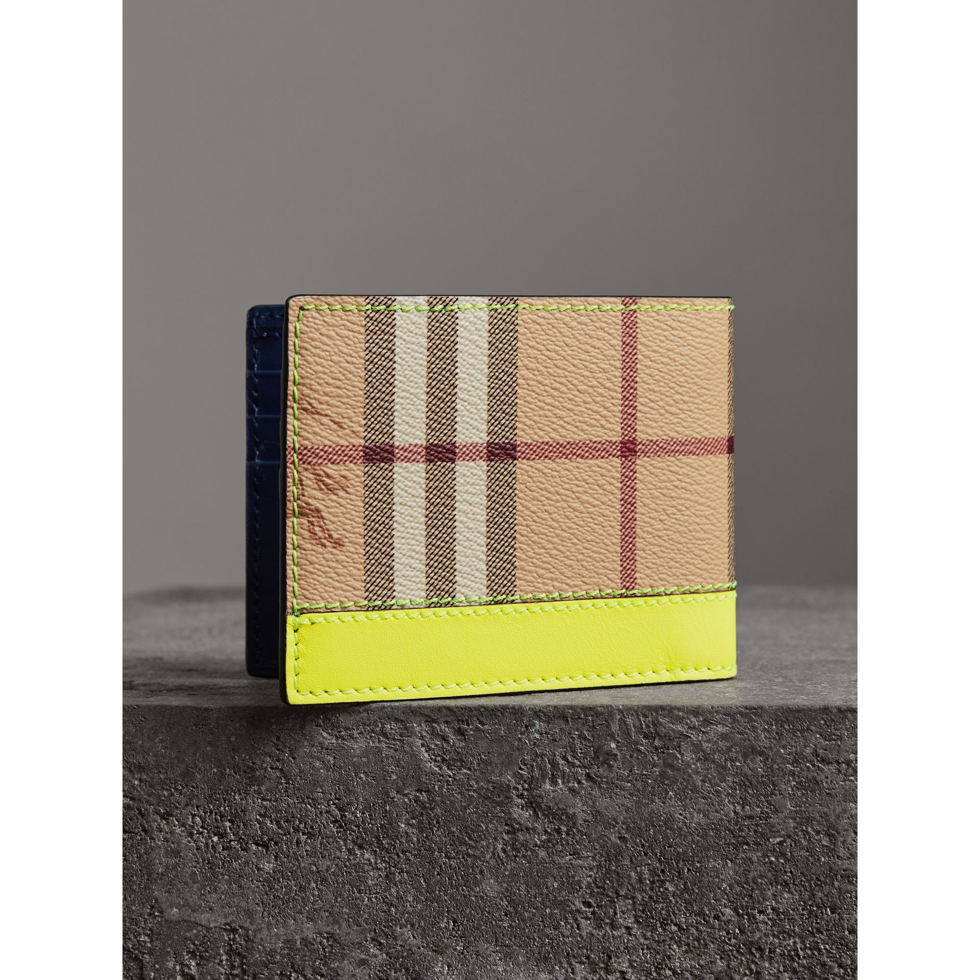 Haymarket Check and Leather Bifold Wallet in Bright Yellow | Burberry United States - gallery image 2