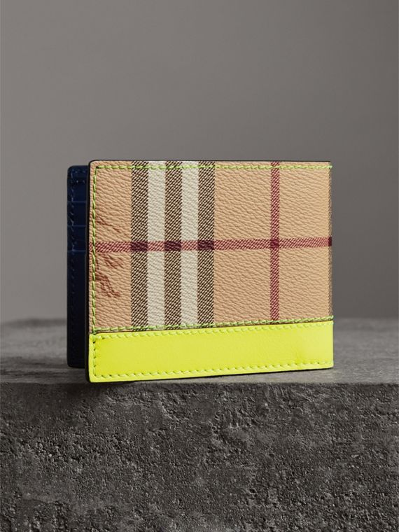 Haymarket Check and Leather Bifold Wallet in Bright Yellow | Burberry United States - cell image 2