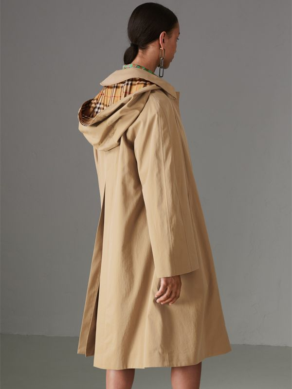 Detachable Hood Oversized Car Coat in Honey - Women | Burberry - cell image 2