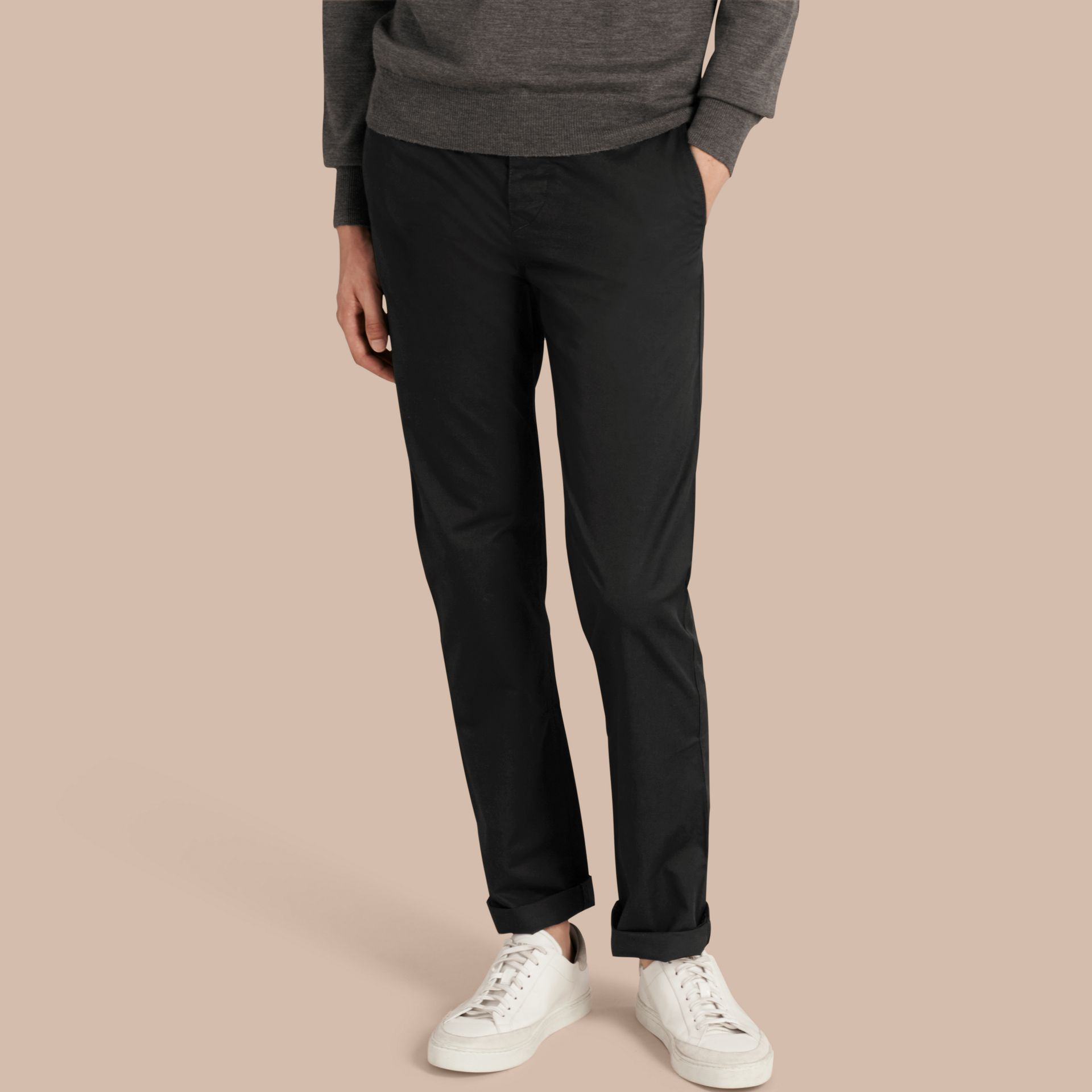 Straight Fit Cotton Chinos Black - gallery image 1