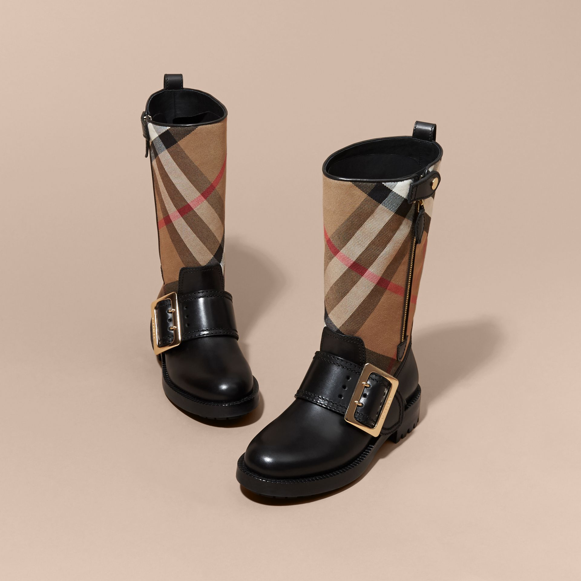 House Check Buckle Detail Leather Boots in Classic - Women | Burberry - gallery image 3