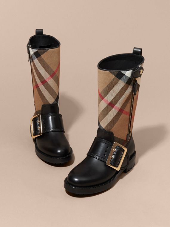 House Check Buckle Detail Leather Boots - Women | Burberry - cell image 2