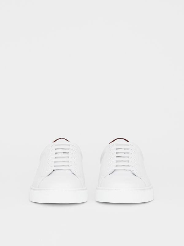 Perforated Check Leather Sneakers in Optic White - Men | Burberry - cell image 3