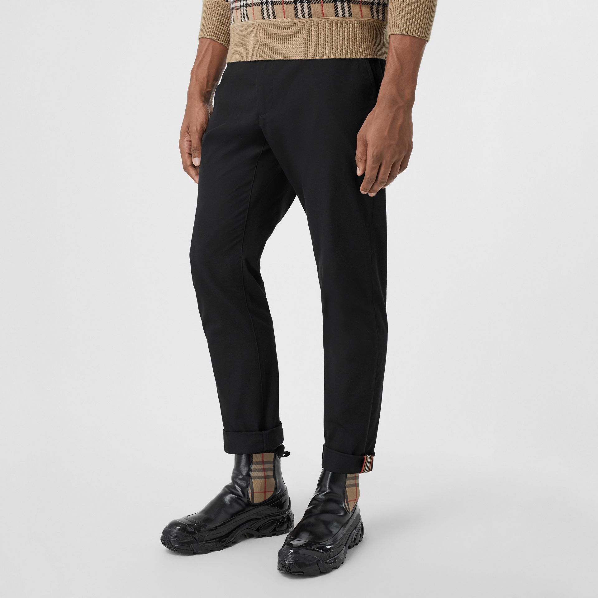 Slim Fit Cotton Chinos in Black - Men | Burberry Australia - gallery image 4