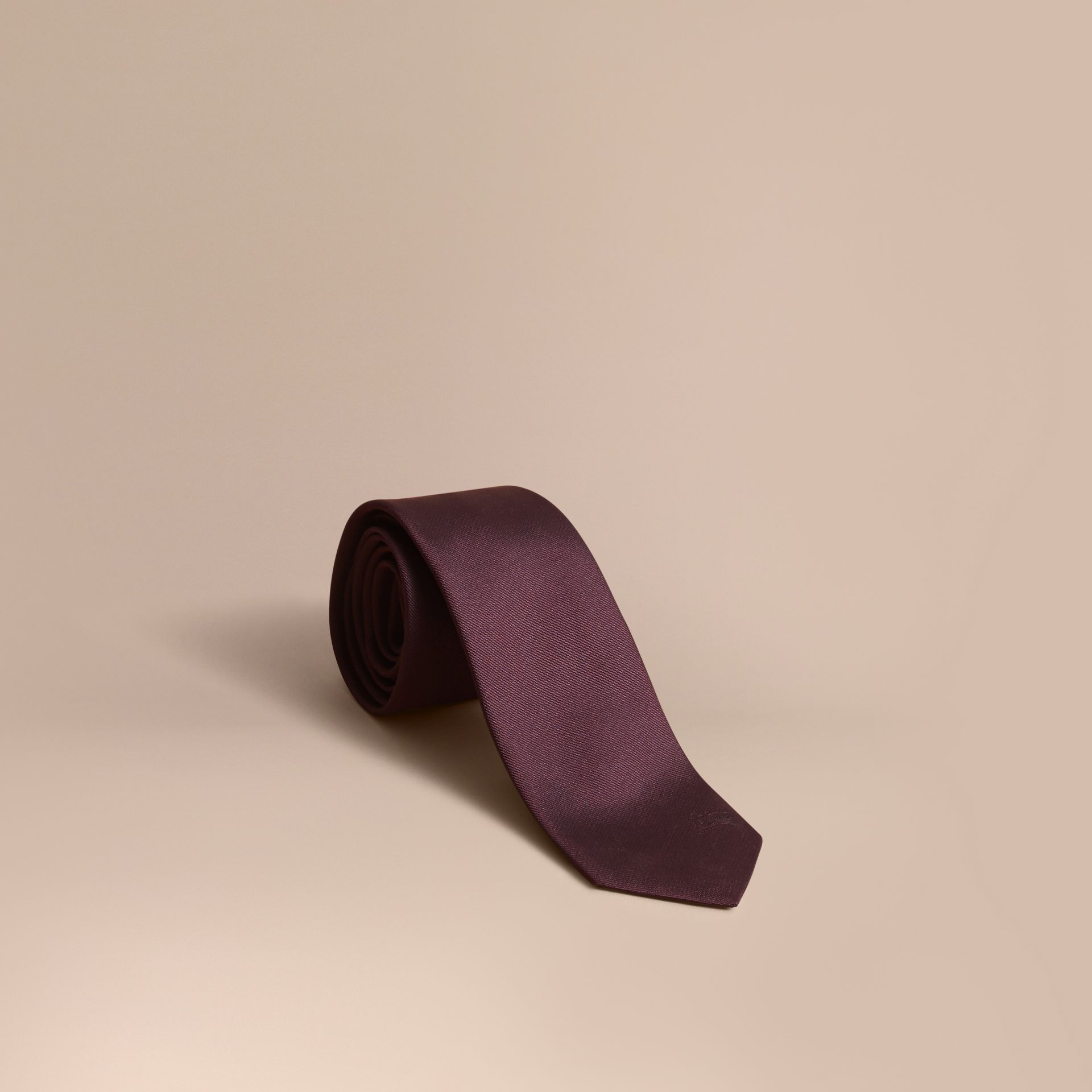 Slim Cut Silk Twill Tie in Deep Claret - Men | Burberry - gallery image 1