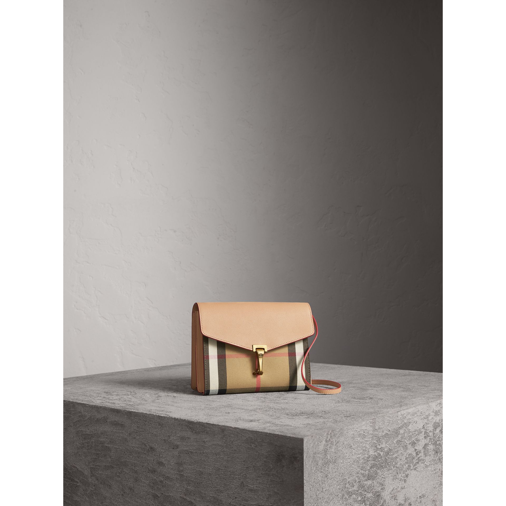 Small Leather and House Check Crossbody Bag in Pale Apricot - Women | Burberry Hong Kong - gallery image 6