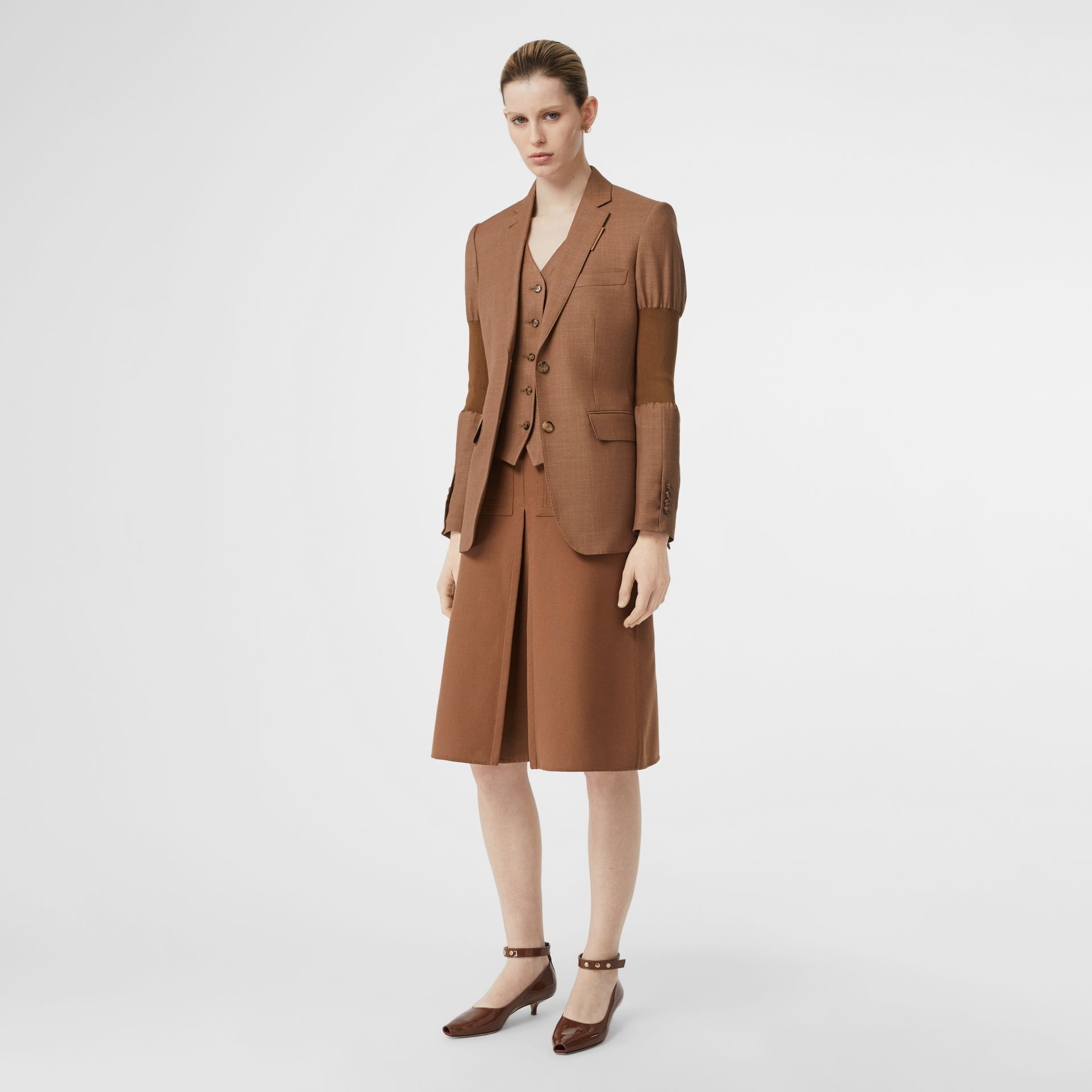 Panelled-sleeve Mohair Wool Blend Tailored Jacket in Bronze - Women | Burberry - gallery image 0