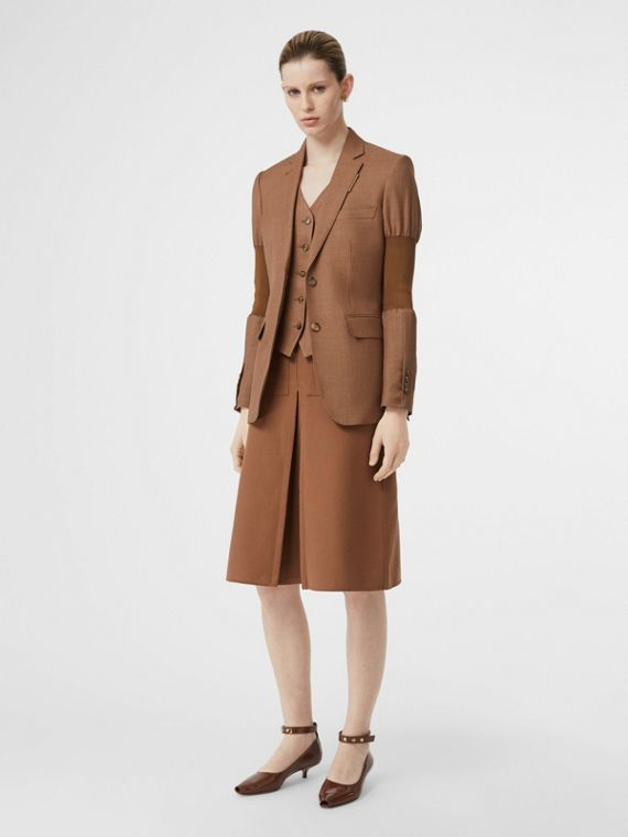 Panelled-sleeve Mohair Wool Blend Tailored Jacket in Bronze