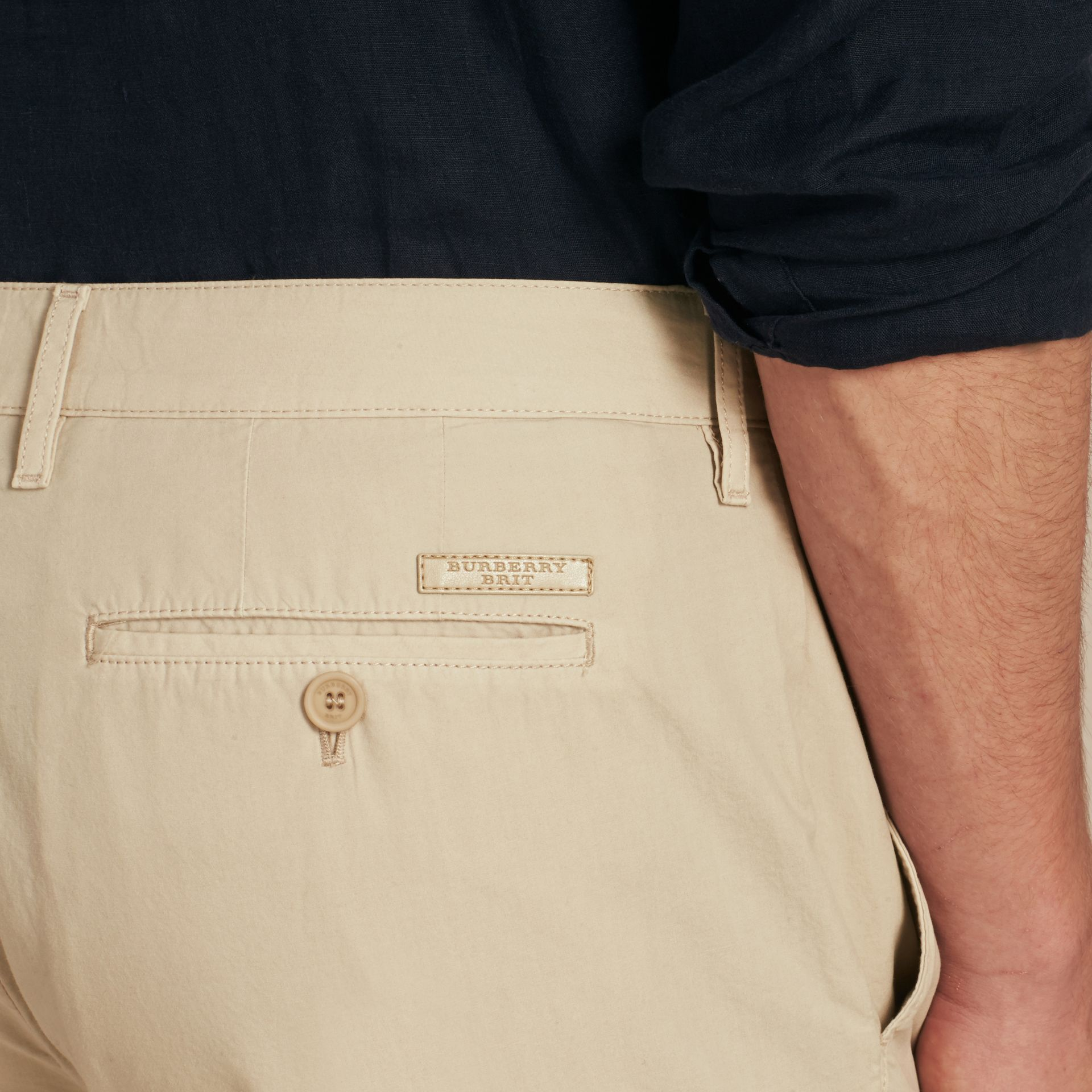 Cotton Poplin Chino Shorts Stone - gallery image 6