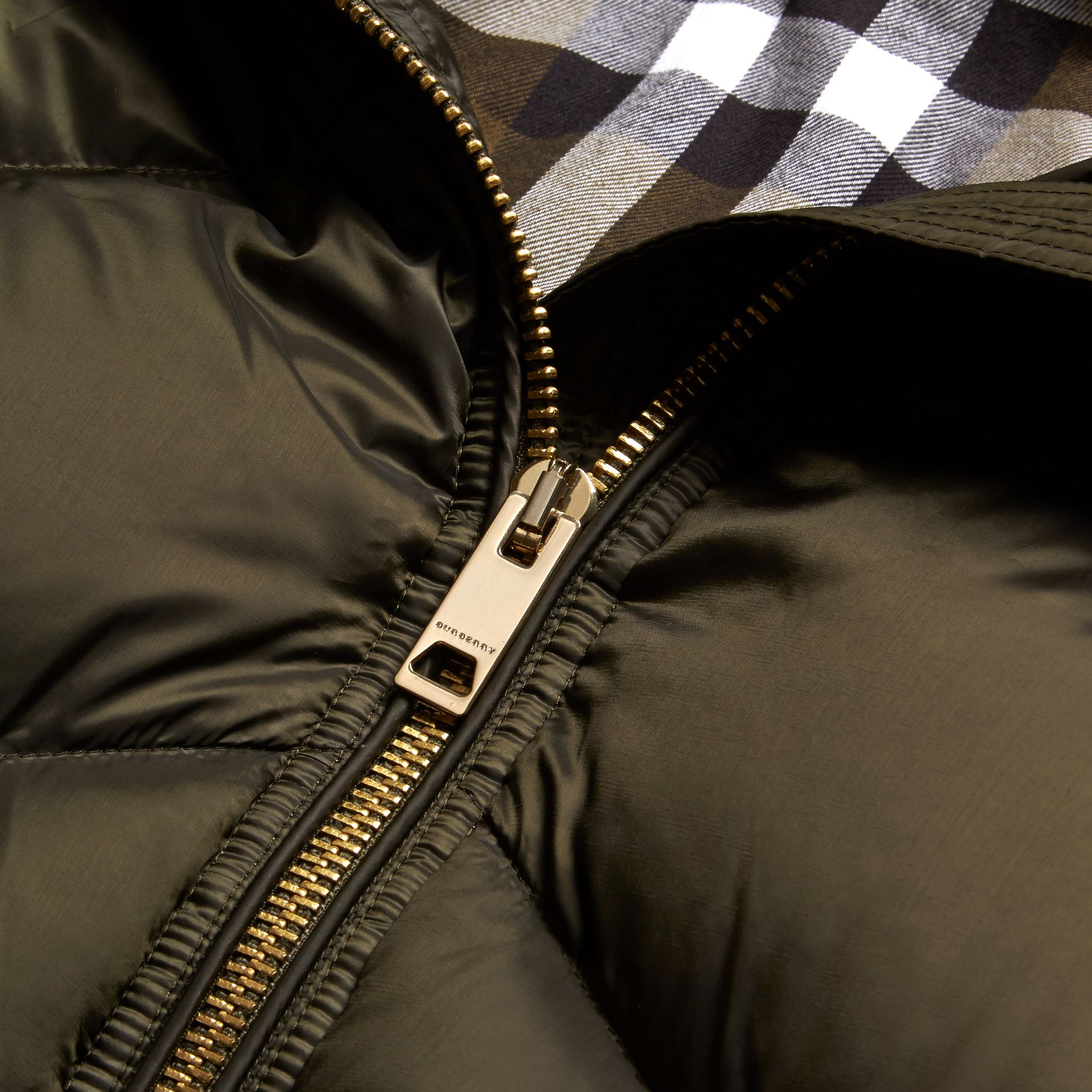 Chevron-quilted Down-filled Coat in Olive - Women | Burberry - gallery image 2