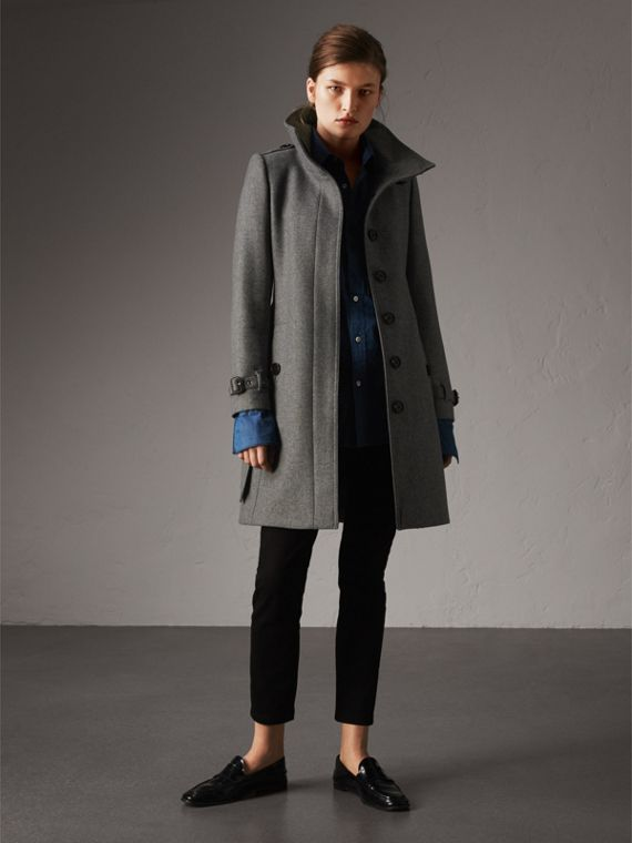 Technical Wool Cashmere Funnel Neck Coat in Steel Grey Melange