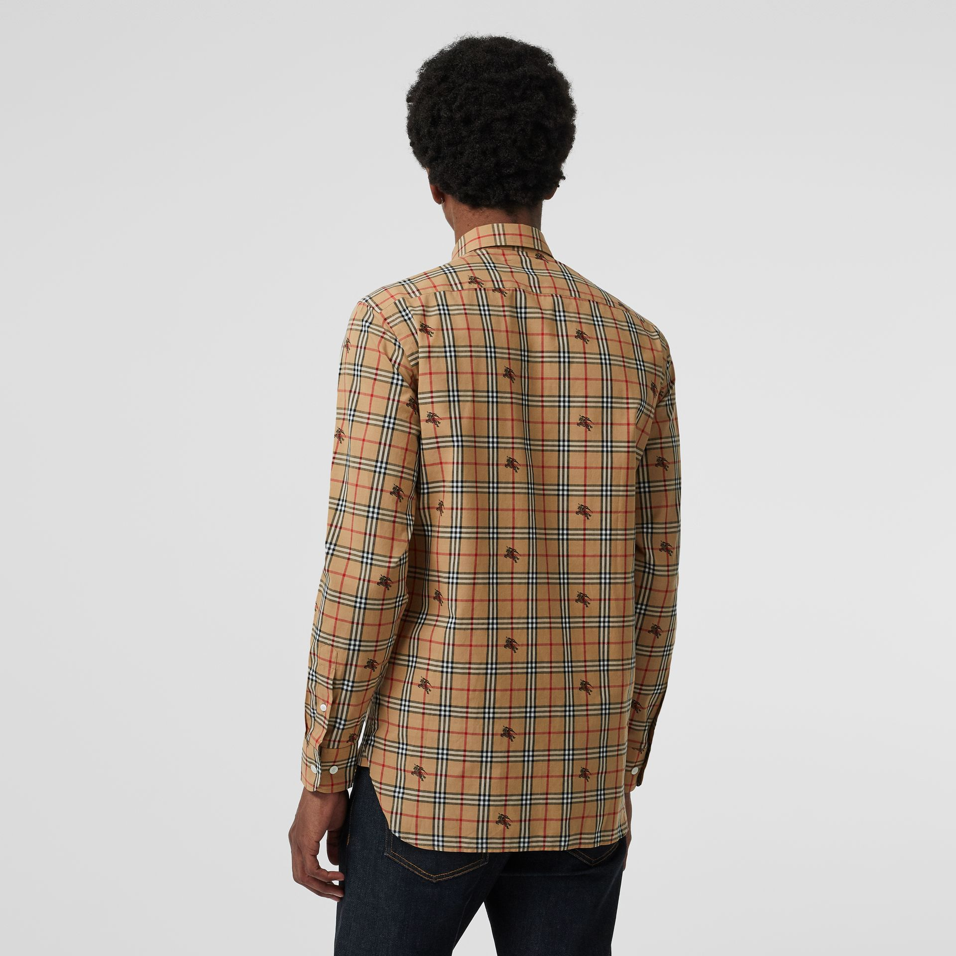 Equestrian Knight Check Cotton Shirt in Camel - Men | Burberry - gallery image 2