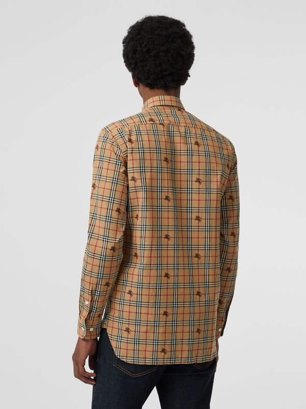 Equestrian Knight Check Cotton Shirt in Camel - Men | Burberry United Kingdom - cell image 2