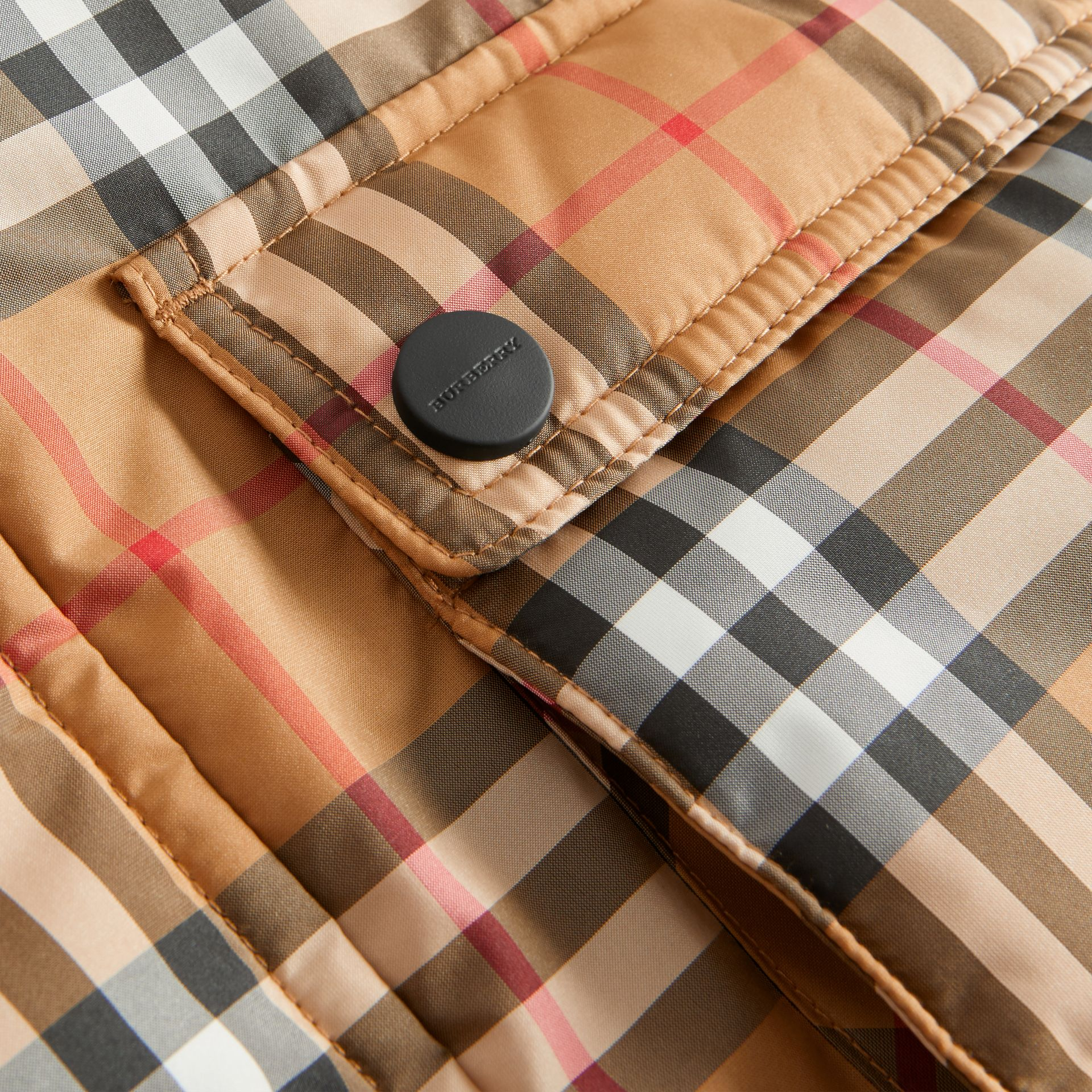 Vintage Check Down-filled Hooded Puffer Jacket in Antique Yellow | Burberry Australia - gallery image 1