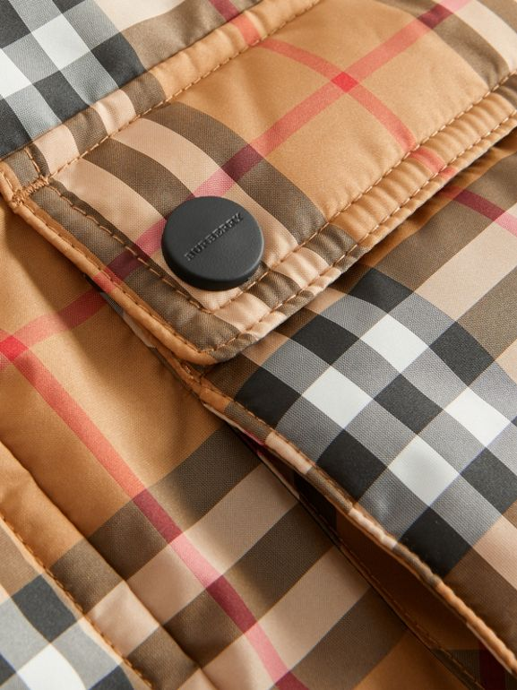 Vintage Check Down-filled Hooded Puffer Jacket in Antique Yellow | Burberry Australia - cell image 1