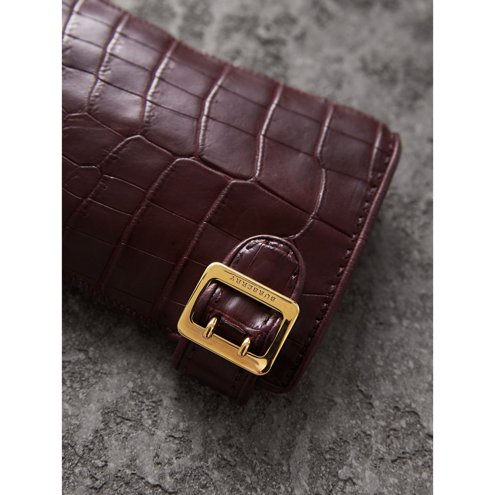 Crocodile and Lambskin Gloves in Burgundy - Women | Burberry - gallery image 2