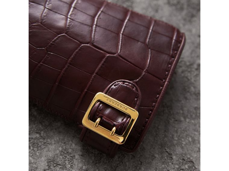 Crocodile and Lambskin Gloves in Burgundy - Women | Burberry - cell image 1