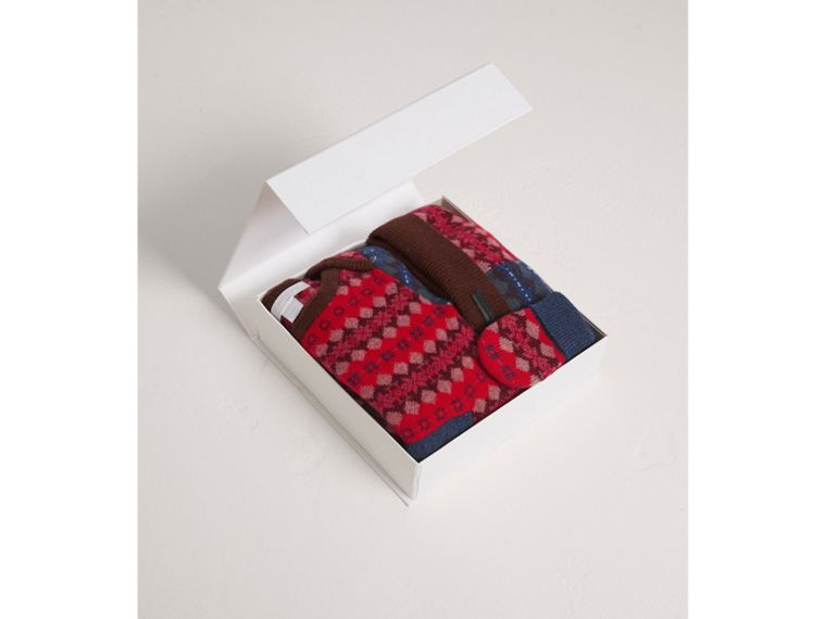 Fair Isle Wool Cashmere Three-piece Baby Gift Set in Rosewood | Burberry - cell image 2