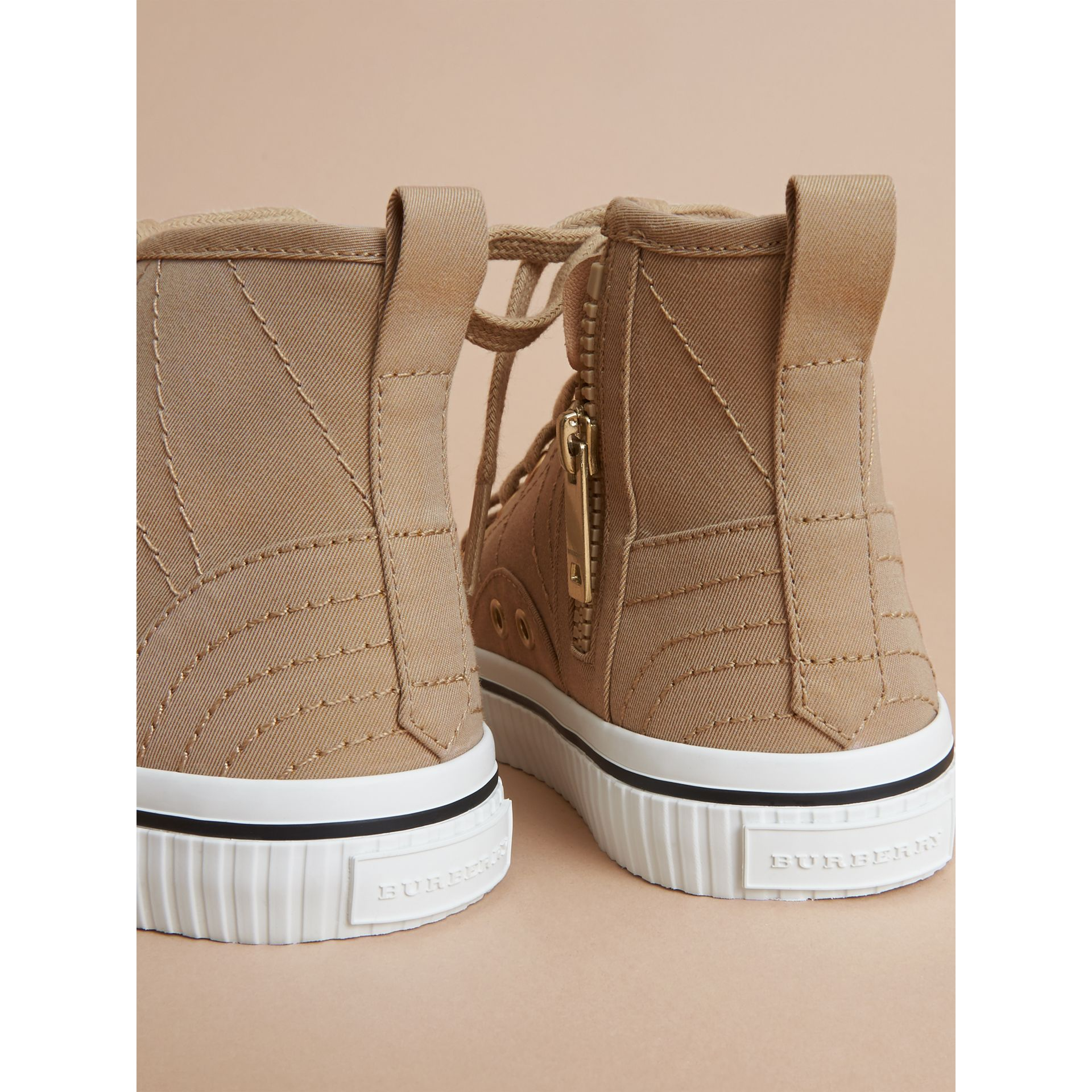 Topstitched Cotton Gabardine High-top Trainers in Honey | Burberry - gallery image 3