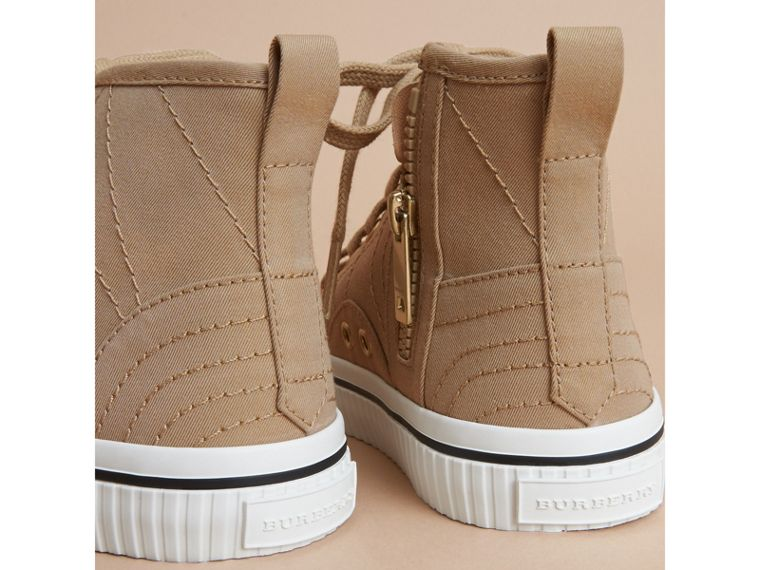 Topstitched Cotton Gabardine High-top Trainers in Honey | Burberry - cell image 2