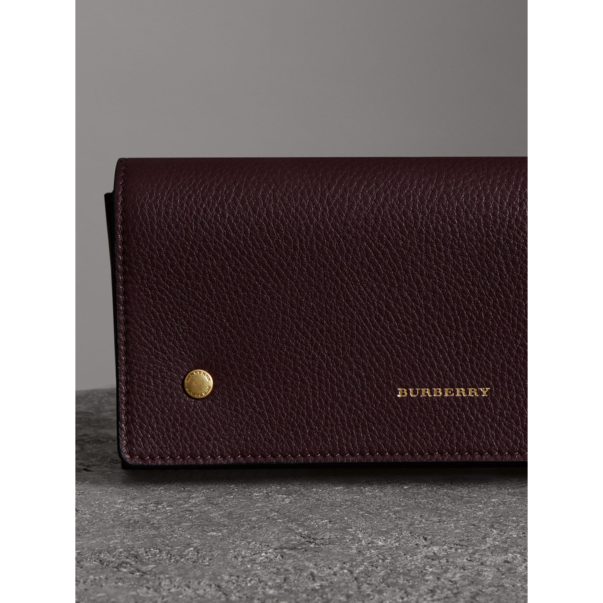 Two-tone Leather Continental Wallet in Deep Claret - Women | Burberry - gallery image 5