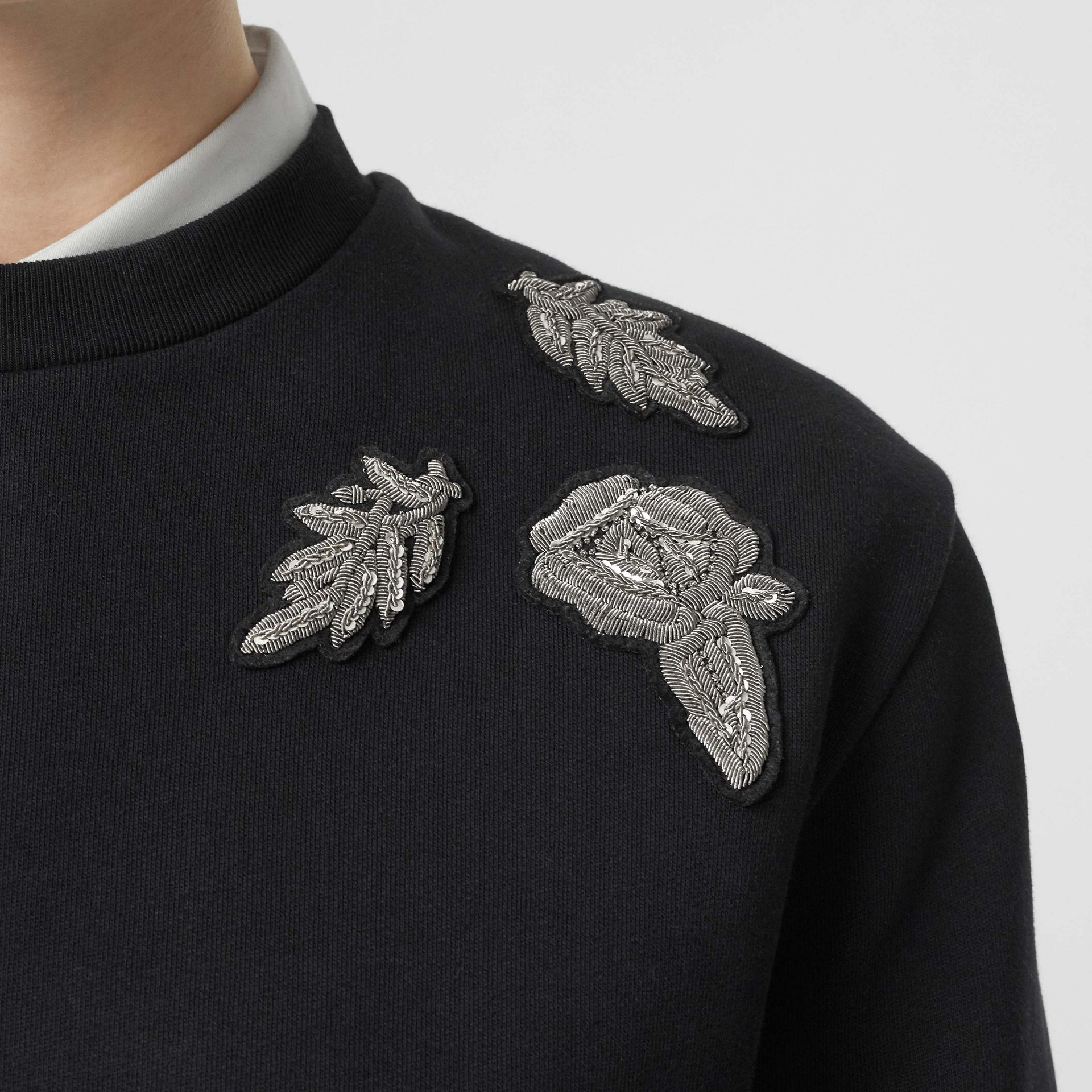 Bullion Floral Cotton Blend Sweatshirt in Black - Women | Burberry - gallery image 4