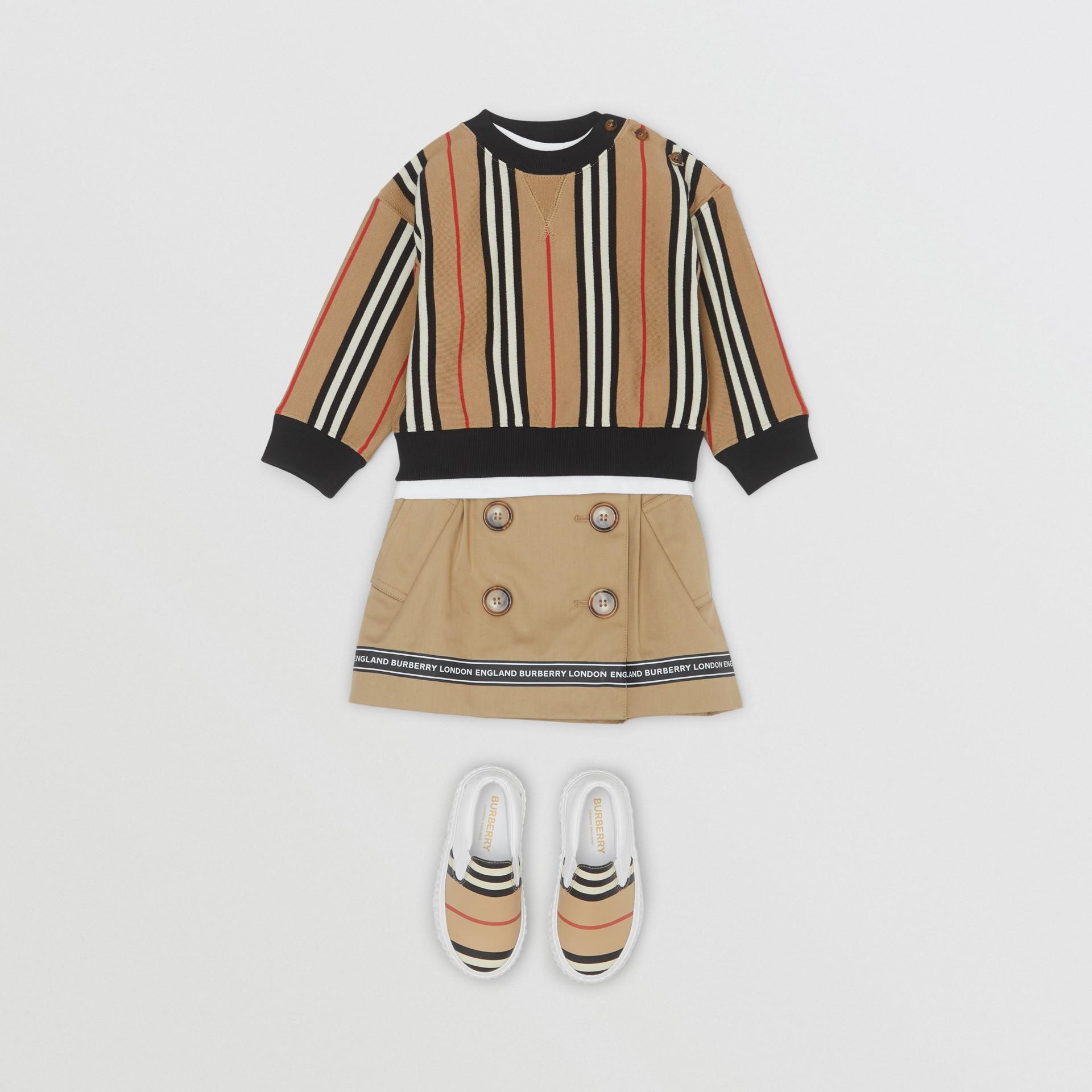 Icon Stripe Cotton Sweatshirt in Archive Beige - Children | Burberry United Kingdom - gallery image 2