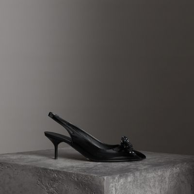 Rope Detail Patent Leather Slingback Pumps in Black