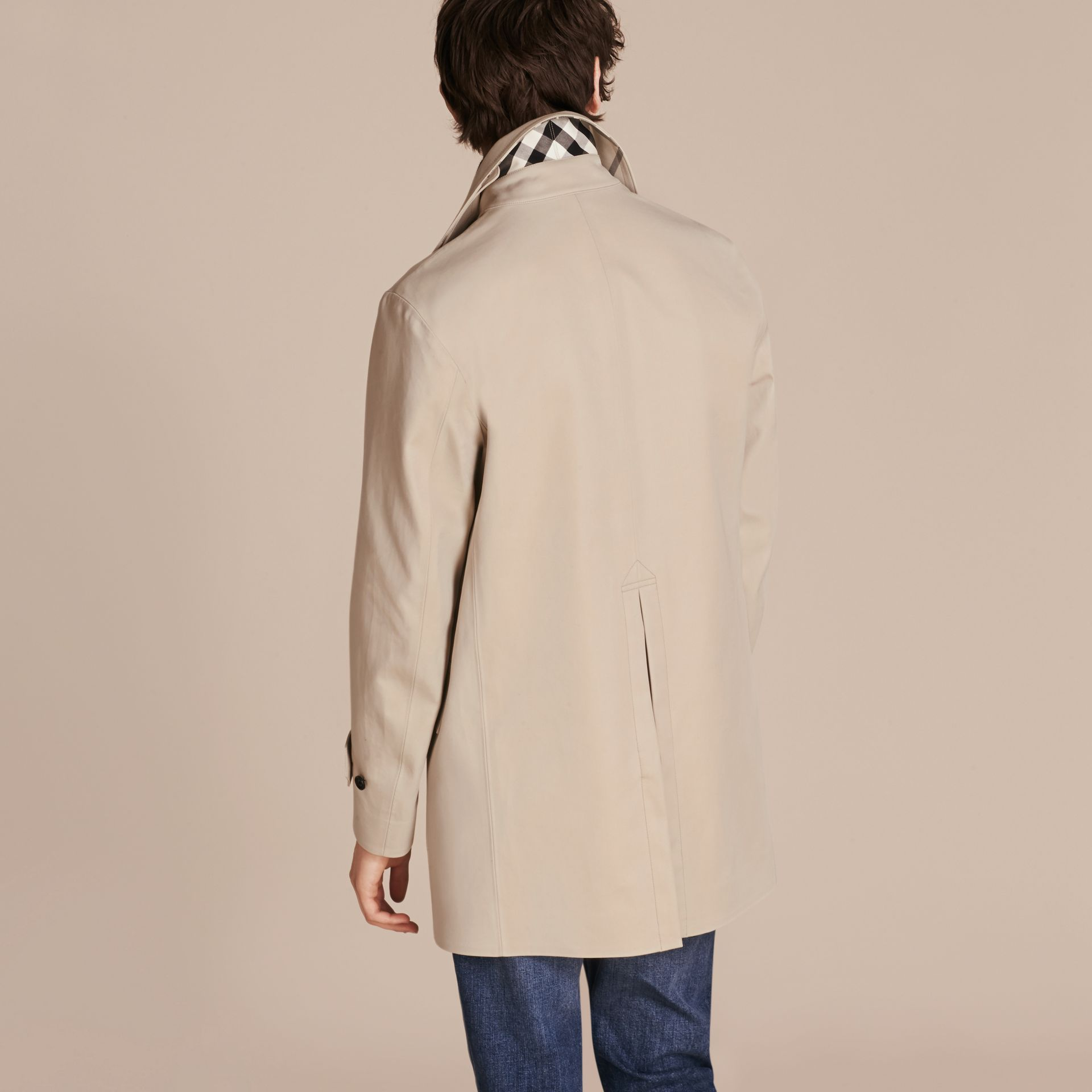 Showerproof Cotton Gabardine Car Coat Stone - gallery image 3