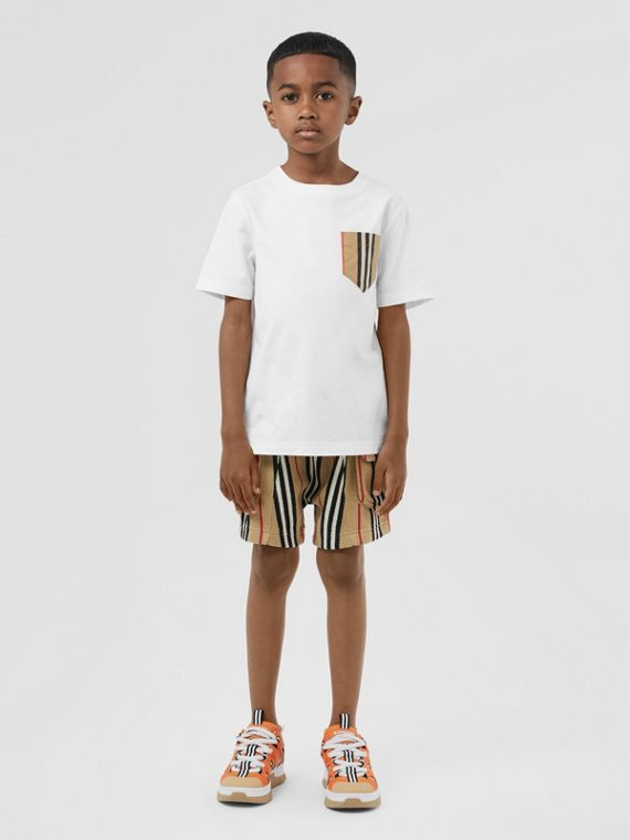 Icon Stripe Pocket Cotton T-shirt in White/archive Beige