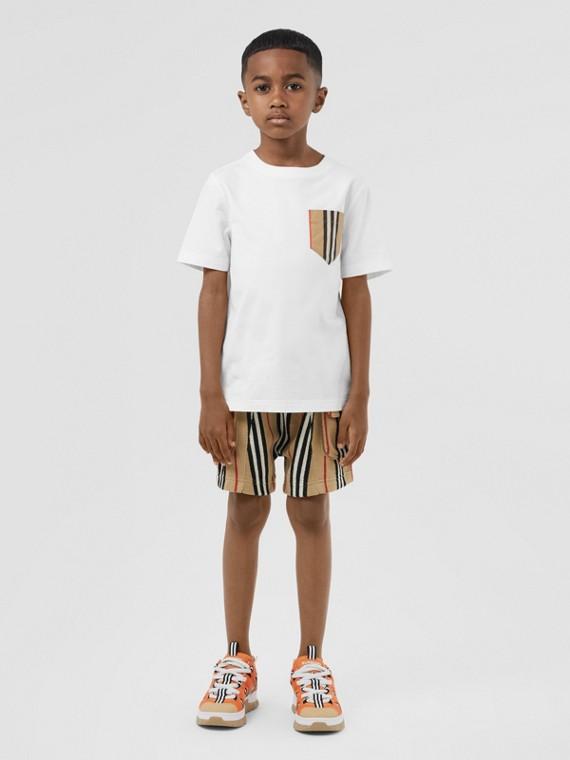 Camiseta en algodón con bolsillo a rayas Icon Stripe (Blanco / Beige Vintage)