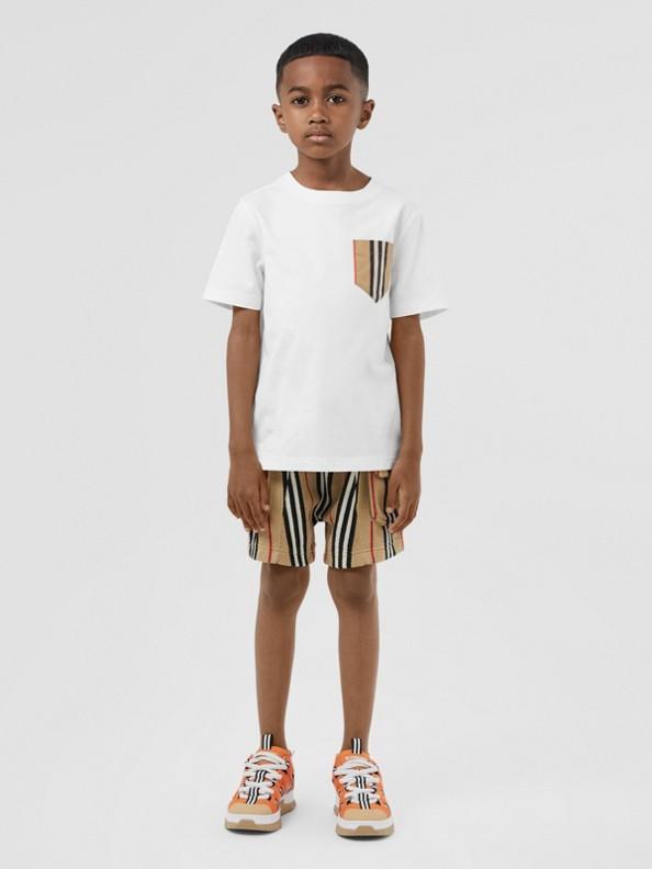 Baumwoll-T-Shirt mit Brusttasche im Streifendesign (Weiss/vintage-beige)