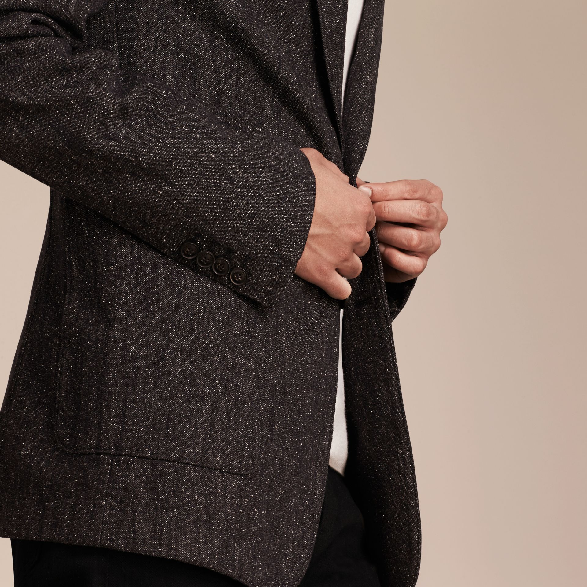 Charcoal blue Cotton Silk Tweed Tailored Jacket - gallery image 5