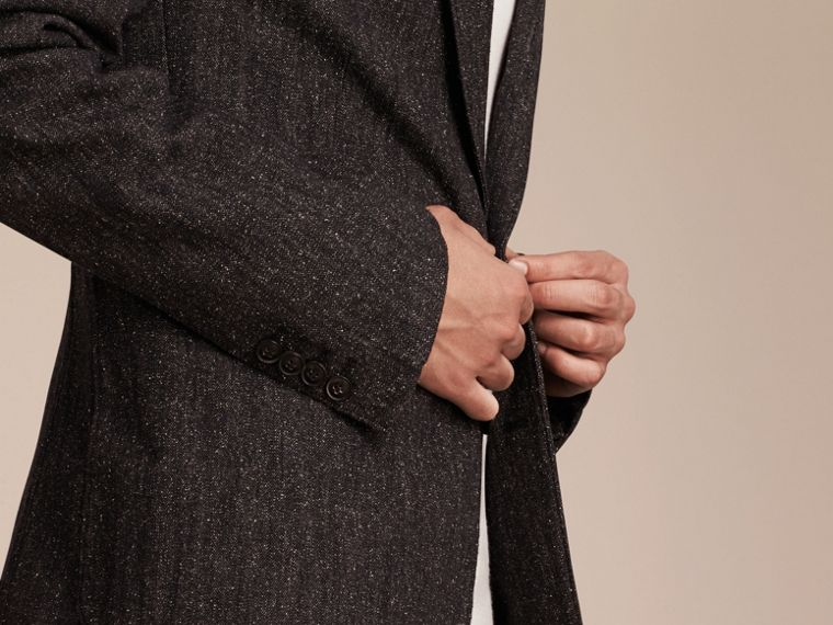 Charcoal blue Cotton Silk Tweed Tailored Jacket - cell image 4