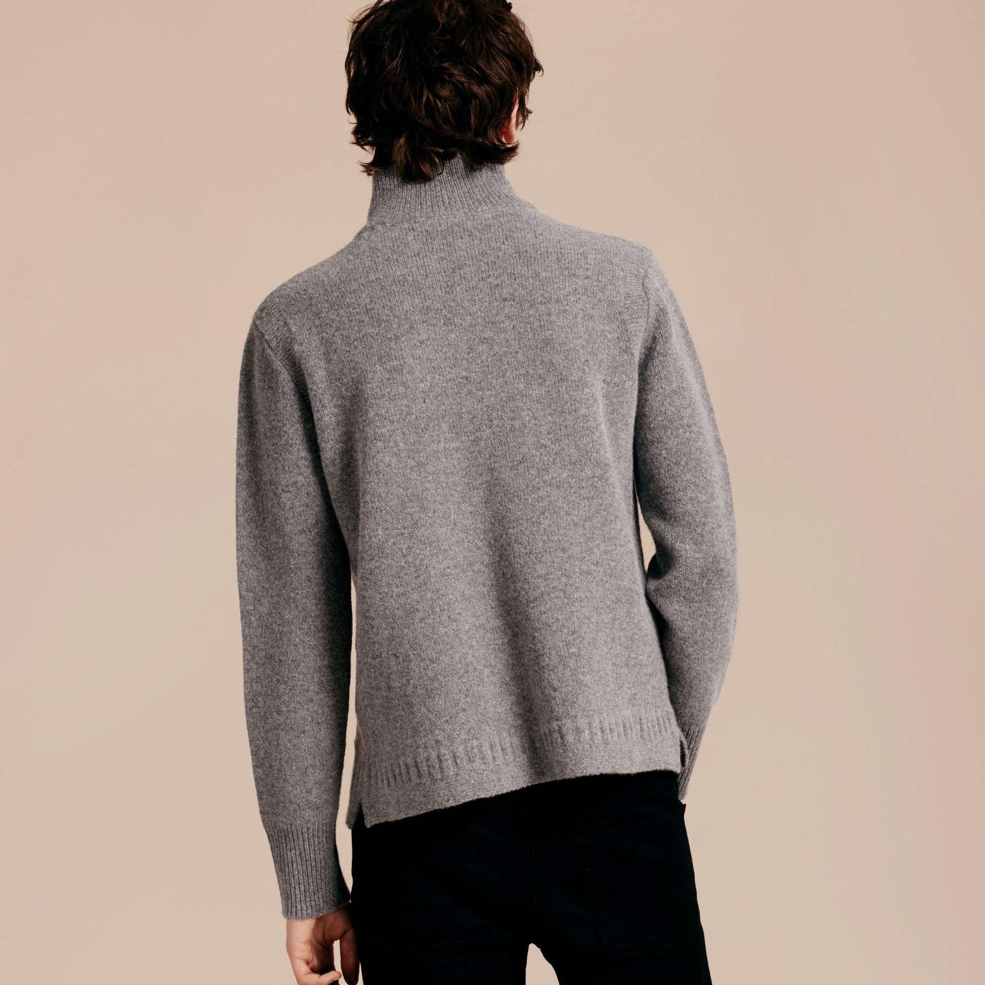 Mid grey melange Funnel Neck Wool Sweater Mid Grey Melange - gallery image 3