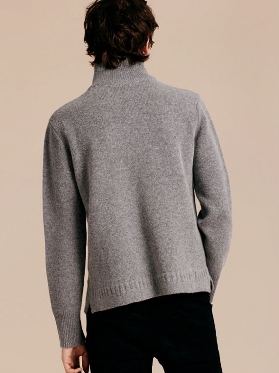 Mid grey melange Funnel Neck Wool Sweater Mid Grey Melange - cell image 2