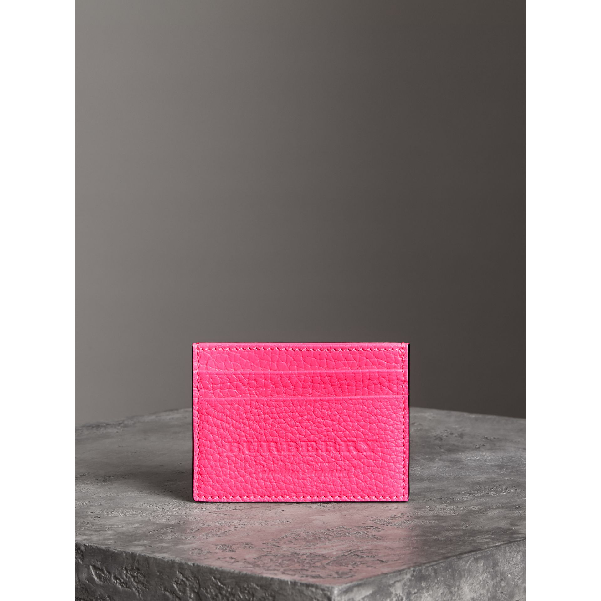 Embossed Textured Leather Card Case in Neon Pink | Burberry - gallery image 4